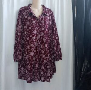 (2X) Style & Co Fancy Button Down Tunic Sz 3X